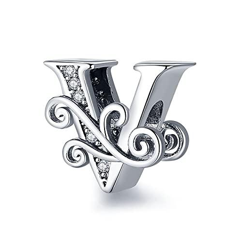 pandora 925 plata esterlina DIY colgante joyería Codedog nombre letra alfabeto v encanto grano ajuste único pulseras colgante v joyería