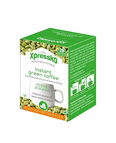 Xpressko 100% Natural Instant Green Coffee with Stevia Weight Loss Support...