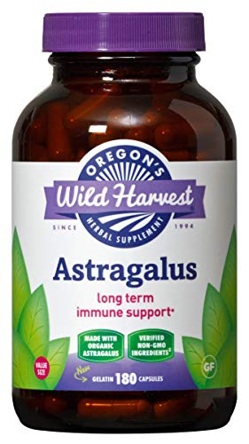 Oregon's Wild Harvest, Certified Organic Astragalus Capsules for Immunity Support, 1125 mgs, 180 Ct