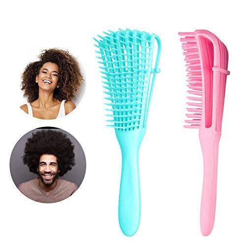 Detangling Brush, Detangler Hair Brushes for Natural Black Hair, 2 Pcs Detangle Comb for Thick Curly Kinky Coily, Wet Dry 3 4 abcd African American Hair for Women Kids Men (Pink & Blue)