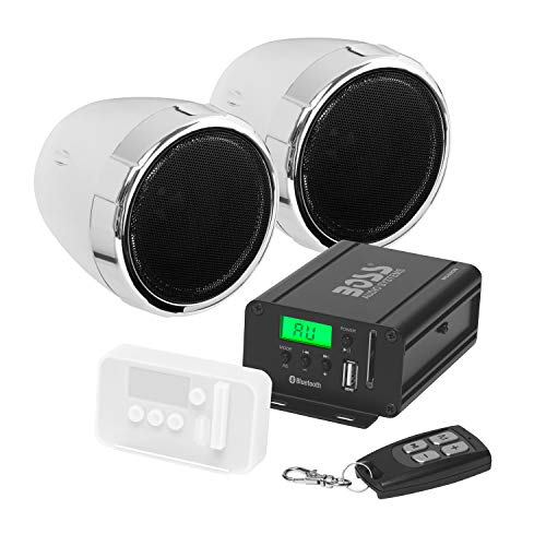 BOSS Audio Systems MCBK520B Motorcycle Speaker and Amplifier Sound System - Bluetooth, Weatherproof,...