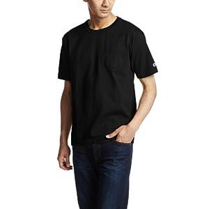 [チャンピオン] T1011 半袖Tシャツ ポケット付き ワンポイントロゴ C5-B303 メンズ ブラック 日本 M (日本サイズM相当)