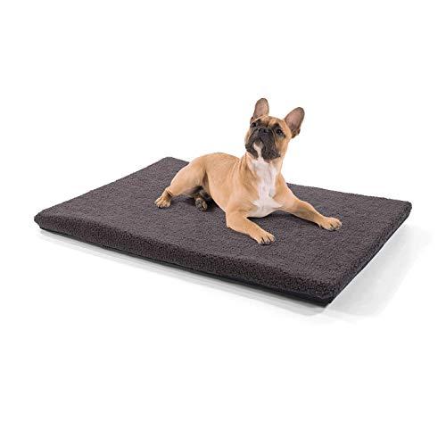 brunolie Nala mittlere Hundedecke in Dunkelbraun, rutschfeste Hundematte mit Reißverschluss, für Hunde und Katzen geeignet, Größe M (100 x 70 x 5 cm)