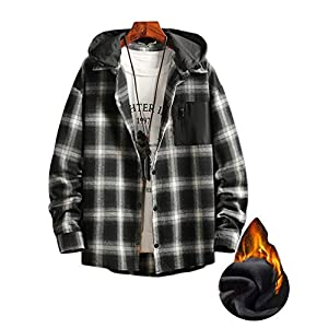 Men's Plaid Hooded Shirts Casual Long Sleeve Lightweight Shirt Jacket...