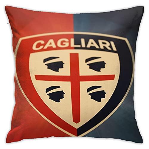 Cagl-Iari Ca-Lcio - Federa decorativa quadrata per cuscino, per divano, soggiorno, divano letto, con cerniera invisibile, 45 x 45 cm