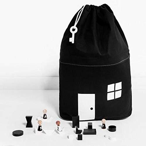 Caja para guardar juguetes, plegable, con forma de cubo, organizador, para habitación infantil, cesta de almacenamiento para juguetes, niños de fieltro Negro