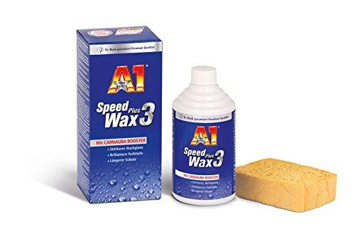 Dr. Wack – A1 Speed Wax Plus 3, 250 ml inkl. Spezialschwamm I Premium Auto-Wachs mit Carnauba I Langanhaltender Schutz & Glanz I Für alle Lacke geeignet I Hochwertige Autopflege – Made in Germany
