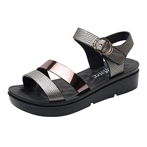 AIni Sandalias Mujer De Cuero Planas Moda Casual Sandalias CóModas Antideslizantes Zapatos Planos Del Pie Sandalias De Punta Descubierta Unisex Zapatos De CuñA Para Mujeres Embarazadas De Masaje 35-41