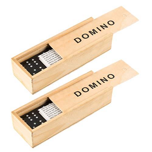 TOYANDONA Houten Domino Set Bouwstenen Racetegel Spelletjes Hout Stapelen Spelen Speelgoed Wetenschap Lesgeven Tafelspel Voor Kinderen Volwassenen Cadeau 2 Sets