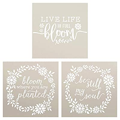 Bloom Where You are Planted Stencil Set with Flowers & Wreath by StudioR12 | Pack of 3 Spring Faith DIY Home Decor | Craft & Paint Wood Signs | Reusable Mylar Template | Select Size