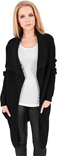 Urban Classics Damen Jacke Mantel Knitted Long Cape schwarz (Schwarz) Small