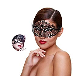 Kitty Masquerade Mask With Rhinestone Venetian Party