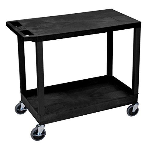 LUXOR EC21-B Cart with 1 Tub Shelf with 1 Flat Shelf, 18' x 32', Black