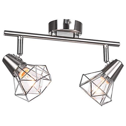 Lingkai Modern Deckenleuchte, Wohnzimmerlampe Deckenspot, Schlafzimmer Deckenstrahler, Küche Strahler E14 2-Diamant Chromoptik Deckenlampe