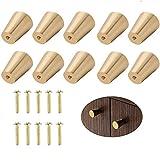 Melodip Juego de 10 tiradores redondos de latón macizo con un solo agujero, diseño moderno de latón macizo, para puertas de armario o armario