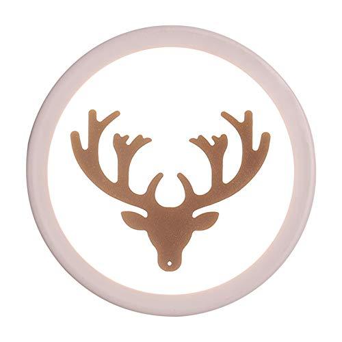 Wstomys Patrón de luz Ambiental Cuerno de Ciervo de Noche LED Redonda Lámpara de Pared del hogar Creativo de Estar Pasillo Pasillo Decorativo 18 * 4 * 18 cm