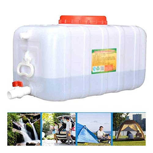 ZLZGZ Depósito de Agua para Exterior con Grifo, Plástico Grueso Contenedor de Almacenamiento de Agua Cubo de Almacenamiento Portátil para el Hogar Barril de Productos Campismo, Rectangular Blanco