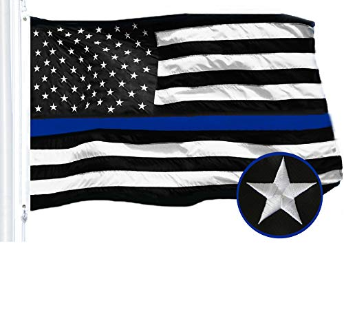 G128 - Thin Blue Line Embroidered U.S. American Flag 2X3 FT Brass Grommets Honoring Men Women Law Enforcement Black White Blue US Flag