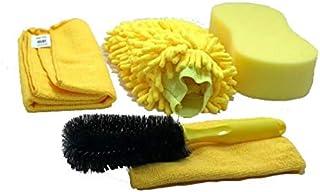 مجموعة تنظيف السيارات 5 قطع / مجموعة ادوات غسل السيارات من المايكروفايبر قفازات مناشف الاسفنجة فرشاة عجلة