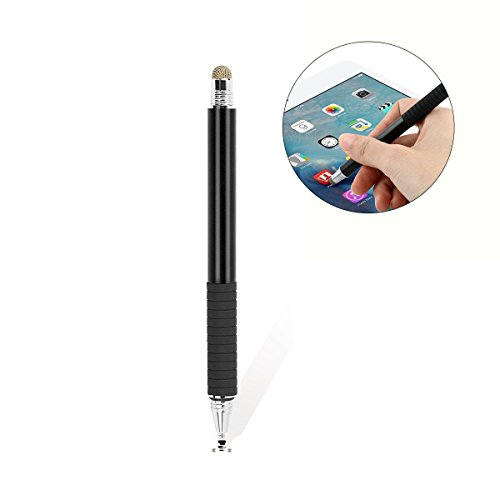 matita per tablet UEETEK Multifunzione 2 in 1 Capacitive Stylus Touch Pen Penne sensibili per Touch Screen universali Accurate con Punte in Fibra fine per Smartphone Touchscreen e Tablet (Nero)