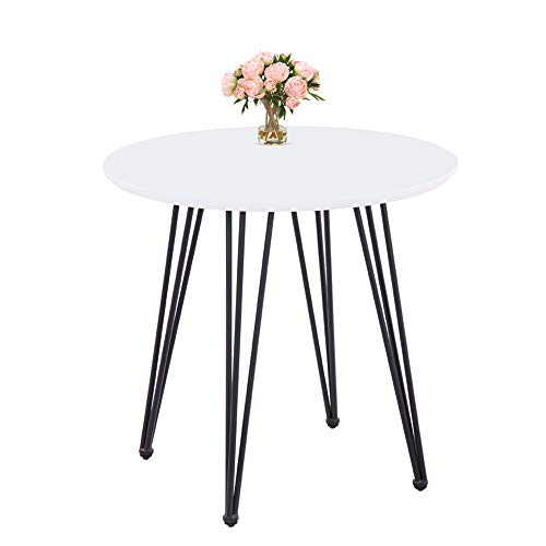 GOLDFAN Modern Dining Table Round Kitchen White Table and Black Powder Coated Legs,80 cm (Table Only)