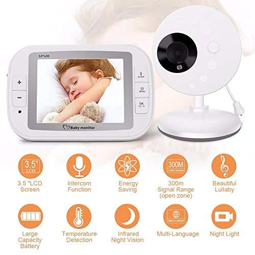 DZSF Moniteur de bébé pour Nouveau-nés Video Nanny Capteur de température de Vision Nocturne IR 3,5 Pouces Lullaby Intercom Baby Cam Radio Nanny