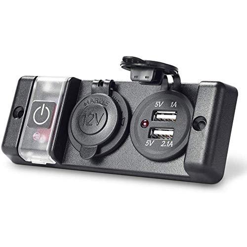 ZDZHU 3 in 1 Pannello Interruttore Multifunzione, 12V Doppio Interruttore USB Doppio Caricatore USB Presa accendisigari per autoveicoli nautici Camion...
