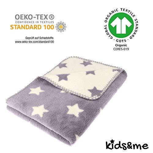 kids&me atmungsaktive Babydecke - ÖKO-TEX - Kuscheldecke für Babys aus 100% Bio-Baumwolle - graue Baumwolldecke Made in Germany