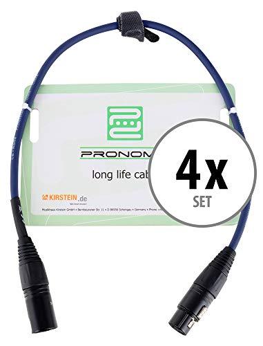 4er Set Pronomic Stage DMX3-0,5 DMX-Kabel 0,5 Meter (zur Verkabelung von Lichteffekten, Goldkontakte, Mantelfarbe: Blau, XLR Male zu XLR Female)