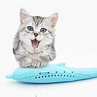 ペット用おもちゃ シリコーンイルカのおもちゃをクリーニングキャットニップ猫の歯(ブルー) ペット用品 (色 : Blue)