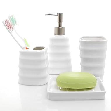4 Piece Ribbed White Ceramic Bathroom Accessory Set w/ Toothbrush Holder, Tumbler, Soap Dish & Dispenser