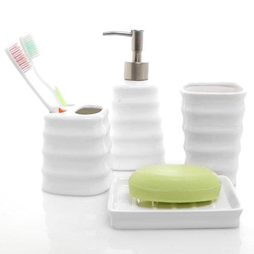 MyGift Juego de Accesorios de baño de cerámica Blanco Acanalado de 4 Piezas con Soporte para Cepillo de Dientes, Vaso, jabonera y dispensador