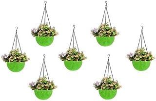 Round Gamla Pot Flower Hanging Round Rattan Woven Plastic Flower Hanging Basket Beautiful Pot for Garden Balcony (7 Pcs, G...