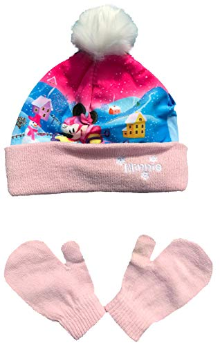Coole-Fun-T-Shirts Minnie Mouse Muts meisjesset wintermuts + handschoenen meisje roze of roze maat 48 en 50 cm.