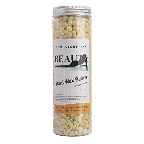 Bonjanvye Depilatory Hard Wax Beans Professional Striptless Hair Removal Wax Beads 400g Cream