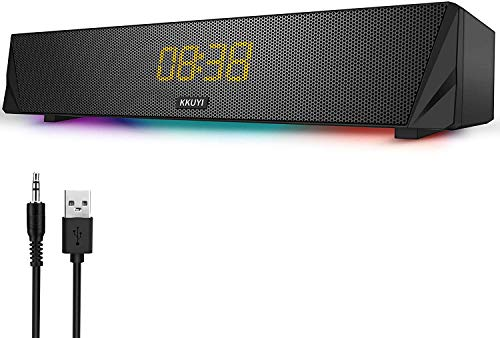 Soundbar, Gaming Computer Speaker with Colourful RGB Light, Powerful 7 W Driver PC Soundbar, Wireless Bluetooth 5.0 or 3.5 mm Aux Connection, Stereo Audio Computer