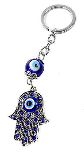 Llavero Mano de Fátima + Ojo Turco - Símbolos de Buena suerte y Protección contra el mal de ojo