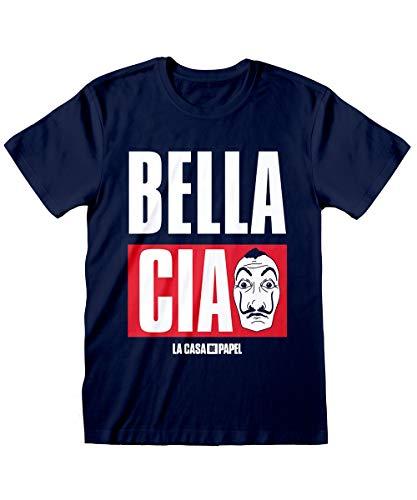 Casa de Papel T-shirt Navy Bella Ciao en logo masker Dalì, 100% origineel Netflix TV Series Jersey