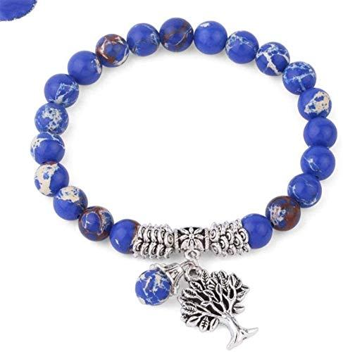 JPSOUP Pulsera de Piedra Mujer, 7 Chakra Piedra Brazalete elástico árbol de la Vida joyería Colgante Yoga Reza energía Encanto difusor Azul Marino Azul Semi-Preciosa Pulsera Pareja para un Regalo