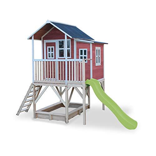 EXIT Loft 550 rotbraun / Spielhäuschen auf Stelzen mit Veranda+Rutsche + Sandkasten / Zedernholz / Maße: 170 x 171 x 250 cm / 172,5 kg / 3+