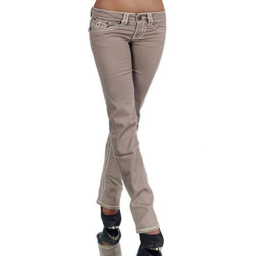 Damen Bootcut Jeans Hose Damenjeans Hüftjeans Gerades Bein Dicke Naht Nähte H922, Größen:42 (XL), Farben:Coffee