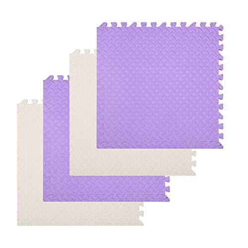 Qianxun 2ft Foam Mat Floor Tiles Interlocking EVA Foam Padding with Boarders, Soft Flooring for Exercising, Yoga, Camping, Kids, Babies, Playroom, Gym, Beige&Violet, 4pcs Pack
