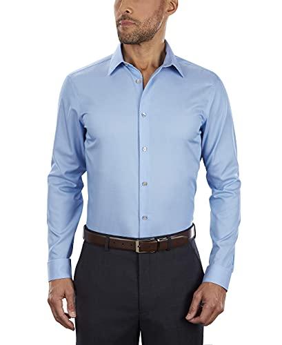 Calvin Klein Men's Dress Shirt Slim Fit Non Iron Herringbone, Mist, 14' Neck 32'-33' Sleeve (Small)