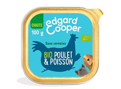 Edgard & Cooper Boite Patée BIO Chiot Chien Junior Sans Cereales Nourriture Naturelle 100g Poulet/Poisson Biologique Frais, Alimentation saine savoureuse et équilibrée, Protéines de qualité supérieure