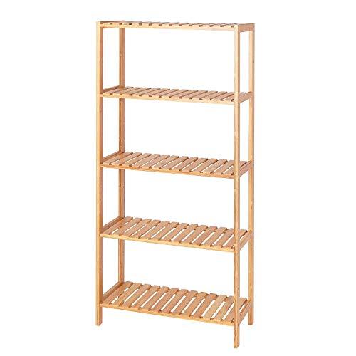 TS-ideen - Estantería con 5 estantes (bambú, 60 x 26 x 130 cm), Color Beige