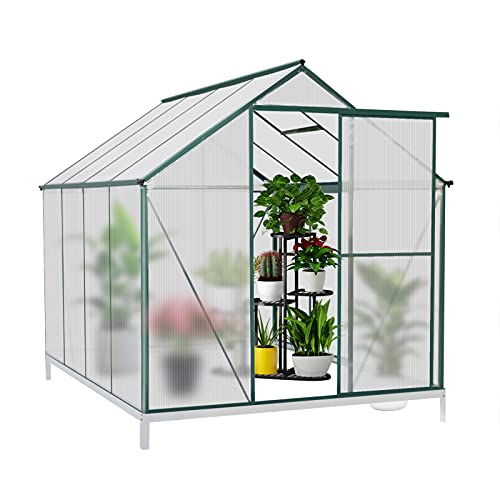 JULY'S SONG Greenhouse,Polycarbonate Walk-in Plant Greenhouse with Window for Winter,Garden Green House Kit for Backyard/Outdoor Use(8'x6')