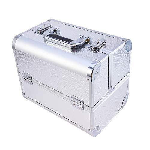 Vosarea Aluminium Cosmetic Box Professioneller Make-up-Koffer für die Reise (Silber)