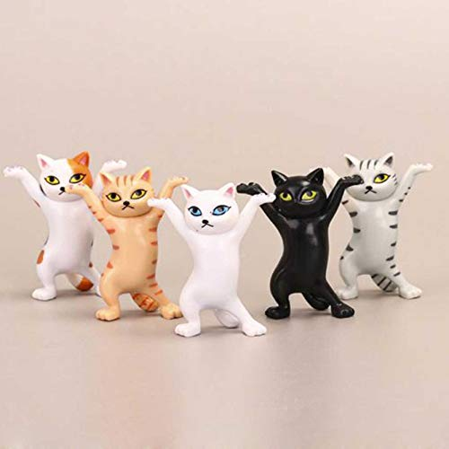 5pcs The Cat Dance Figures Ornaments,Figure Anime Peripheral Enchanting Kitty Doll,Cute Animal Dancing Decoration,Car Dashboard & Holiday Decor,for Home Office Window Desk (Multicolor)