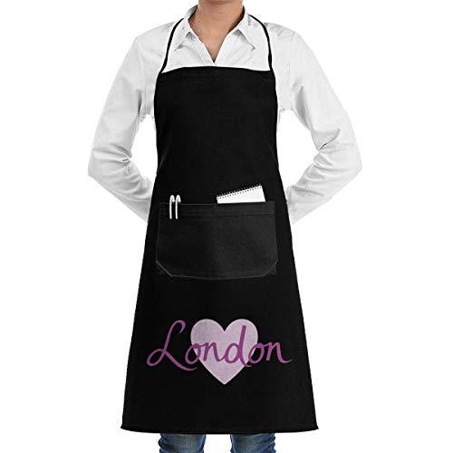 Lsjuee London Script & Heart Delantales Unisex para Mujeres Hombres Delantal de Cocina Delantal con Bolsillos