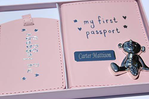 Etiqueta personalizable para pasaporte y equipaje, grabada con cualquier nombre, color rosa